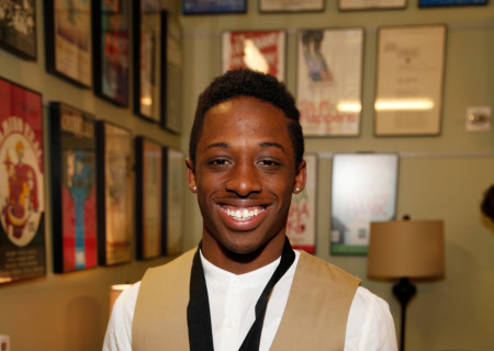 Wayne R. Mackins-Harris poses after the August Wilson Monologue Competition Los Angeles Regional Finals at the Mark Taper Forum.
