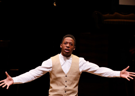 Wayne R. Mackins-Harris performs during the August Wilson Monologue Competition Los Angeles Regional Finals at the Mark Taper Forum.