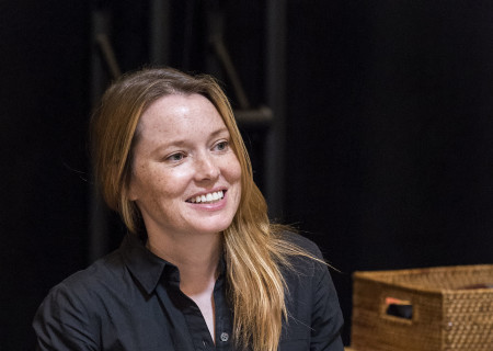 "Cast member Samantha Sloyan on the first day of rehearsal for the world premiere of ""Vicuña"" by Jon Robin Baitz at Center Theatre Group's Kirk Douglas Theatre. Directed by Robert Egan, ""Vicuña"" runs October 23 through November 20, 2016. For tickets and information, please visit CenterTheatreGroup.org or call (213) 628-2772. Contact: CTGMedia@ctgla.org / (213) 972-7376. Photo by Craig Schwartz."