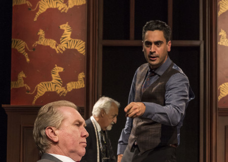 "L-R: Harry Groener, Brian George (background) and Ramiz Monsef in the world premiere of ""Vicuña"" at Center Theatre Group's Kirk Douglas Theatre. Written by Jon Robin Baitz and directed by Robert Egan, ""Vicuña"" runs through November 20, 2016. For tickets and information, please visit CenterTheatreGroup.org or call (213) 628-2772. Contact: CTGMedia@ctgla.org / (213) 972-7376. Photo by Craig Schwartz."