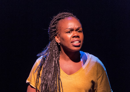 "Ngozi Anyanwu in the world premiere of ""Good Grief."" Written by Anyanwu and directed by Patricia McGregor, ""Good Grief"" plays at Center Theatre Group's Kirk Douglas Theatre through March 26, 2017. For tickets and information, please visit CenterTheatreGroup.org or call (213) 972-4400. Media Contact: CTGMedia@ctgla.org / (213) 972-7376. Photo by Craig Schwartz."