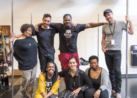 "L-R: (top row) cast members Carla Renata, Wade Allain-Marcus, Marcus Henderson and Mark Jude Sullivan; (bottom row) playwright/cast member Ngozi Anyanwu, director Patricia McGregor and cast member Omoz Idehenre at the first rehearsal for ""Good Grief."" The world premiere of ""Good Grief"" plays February 26 through March 26, 2017, at Center Theatre Group's Kirk Douglas Theatre. For tickets and information, please visit CenterTheatreGroup.org or call (213) 628-2772. Media Contact: (213) 972-7376/CTGMedia@ctgla.org. Photo by Craig Schwartz."