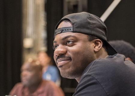 "Cast member Marcus Henderson at the first rehearsal for ""Good Grief."" Directed by Patricia McGregor and written by Ngozi Anyanwu, the world premiere of ""Good Grief"" plays February 26 through March 26, 2017, at Center Theatre Group's Kirk Douglas Theatre. For tickets and information, please visit CenterTheatreGroup.org or call (213) 628-2772. Media Contact: (213) 972-7376/CTGMedia@ctgla.org. Photo by Craig Schwartz."