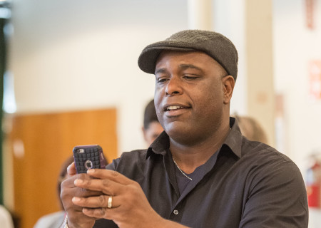 "Cast member J. Bernard Calloway on the first day of rehearsal for ""Head of Passes"" by Tarell Alvin McCraney, directed by Tina Landau. ""Head of Passes"" plays September 13 through October 22, 2017, as part of Center Theatre Group's 50th anniversary season at the Mark Taper Forum. The opening is September 24. For tickets and information, please visit CenterTheatreGroup.org or call (213) 628-2772. Media Contact: CTGMedia@ctgla.org / (213) 972-7376. Photo by Craig Schwartz."
