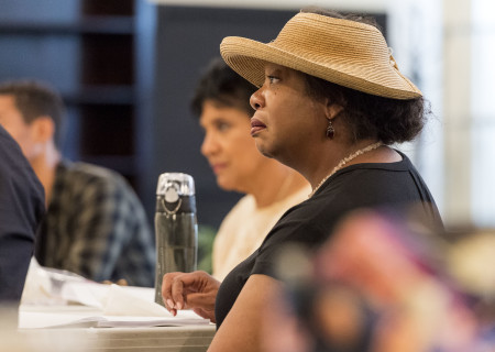 "Cast member Jacqueline Williams on the first day of rehearsal for ""Head of Passes"" by Tarell Alvin McCraney, directed by Tina Landau. ""Head of Passes"" plays September 13 through October 22, 2017, as part of Center Theatre Group's 50th anniversary season at the Mark Taper Forum. The opening is September 24. For tickets and information, please visit CenterTheatreGroup.org or call (213) 628-2772. Media Contact: CTGMedia@ctgla.org / (213) 972-7376. Photo by Craig Schwartz."