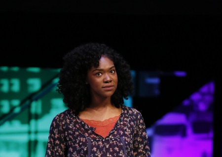 Winner Aryana Williams performs onstage at the Mark Taper Forum during the 2017 August Wilson Monologue Competition hosted by Center Theatre Group on February 27. Media Contact: (213) 972-7376 / CTGMedia@ctgla.org. Photo by Ryan Miller/Capture Imaging.