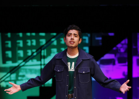 Winner Alexander Villaseñor performs onstage at the Mark Taper Forum during the 2017 August Wilson Monologue Competition hosted by Center Theatre Group on February 27. Media Contact: (213) 972-7376 / CTGMedia@ctgla.org. Photo by Ryan Miller/Capture Imaging.