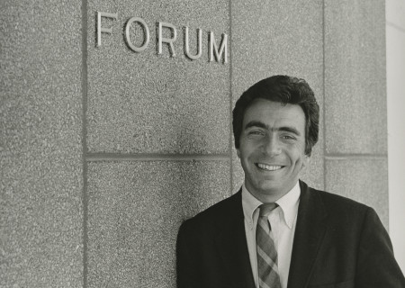 Gordon Davidson in front of the Mark Taper Forum. Photo by Jay Thompson.