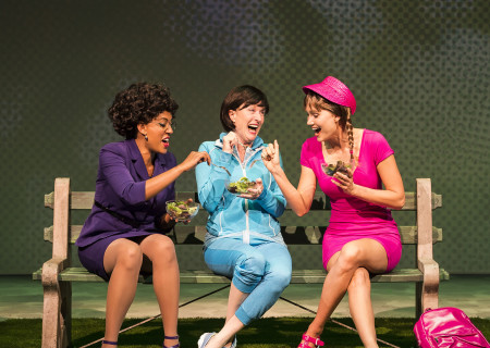 "L-R: Dinora Z. Walcott, Lisa Banes and Nora Kirkpatrick in ""Women Laughing Alone With Salad."" Written by Sheila Callaghan and directed by Neel Keller, ""Women Laughing Alone With Salad"" makes its West Coast premiere from March 6 through April 3, 2016, at Center Theatre Group's Kirk Douglas Theatre. For tickets and information, please visit CenterTheatreGroup.org or call (213) 628-2772.<br />