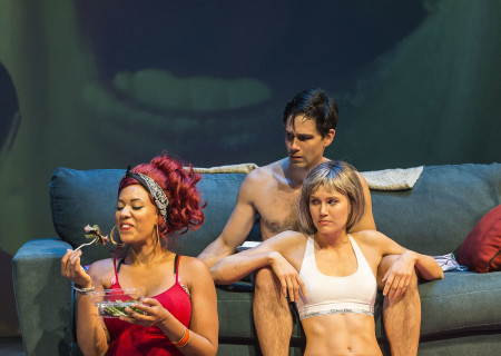 """L-R: Dinora Z. Walcott, David Clayton Rogers and Nora Kirkpatrick in """"Women Laughing Alone With Salad."""" Written by Sheila Callaghan and directed by Neel Keller, """"Women Laughing Alone With Salad"""" makes its West Coast premiere from March 6 through April 3, 2016, at Center Theatre Group's Kirk Douglas Theatre. For tickets and information, please visit CenterTheatreGroup.org or call (213) 628-2772.<br /> Contact: CTGMedia@CenterTheatreGroup.org / (213) 972-7376<br /> Photo by Craig Schwartz."""