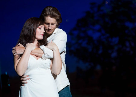 "Andrew Samonsky and Elizabeth Stanley in the Tony Award-winning ""The Bridges of Madison County"" The Broadway Musical at the Center Theatre Group/Ahmanson Theatre, December 8, 2015, through January 17, 2016. ""Bridges"" has a book by Marsha Norman, music and lyrics by Jason Robert Brown and is based on the novel by Robert James Waller. Bartlett Sher directs. Tickets are available at CenterTheatreGroup.org or by calling (213) 972-4400.  <br />