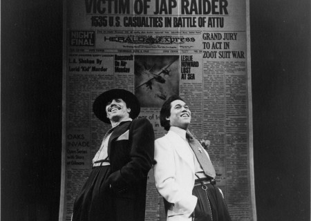 "L-R: Edward James Olmos and Daniel Valdez in the world premiere of ""Zoot Suit"" at the Mark Taper Forum in 1978. Written and directed by Luis Valdez and presented in association with El Teatro Campesino, the revival of ""Zoot Suit"" will play January 31 through March 12, 2017, as part of Center Theatre Group/Mark Taper Forum's 2017-2018 season at the Los Angeles Music Center. Tickets for the Mark Taper Forum's 50th anniversary season are currently available by season ticket membership only. For information and to charge season tickets by phone, call the Exclusive Season Ticket Hotline at (213) 972-4444. To purchase season memberships online, visit www.CenterTheatreGroup.org/Taper. Contact: CTGMedia@ctgla.org / (213) 972-7376. Photo by Jay Thompson."