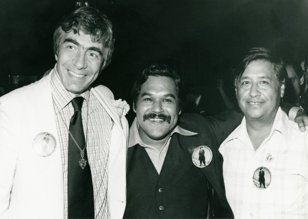L-R: Gordon Davidson, Luis Valdez and Cesar Chavez in 1978..