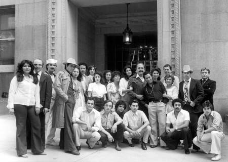 "The cast of ""Zoot Suit"" outside the L.A. Hall of Justice in 1978. Written and directed by Luis Valdez and presented in association with El Teatro Campesino, the revival of ""Zoot Suit"" will play January 31 through March 12, 2017, as part of Center Theatre Group/Mark Taper Forum's 2017-2018 season at the Los Angeles Music Center. Tickets for the Mark Taper Forum's 50th anniversary season are currently available by season ticket membership only. For information and to charge season tickets by phone, call the Exclusive Season Ticket Hotline at (213) 972-4444. To purchase season memberships online, visit www.CenterTheatreGroup.org/Taper. Contact: CTGMedia@ctgla.org / (213) 972-7376."