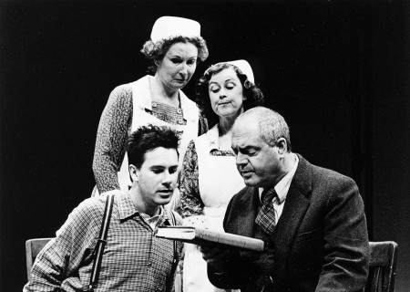 (L–R) Josh Hamilton as Homer Wells, Brenda Wehle as Nurse Angela,  Jane Carr as Nurse Edna, and Michael Winters as Dr. Wilbur Larch in 'The Cider House Rules.'