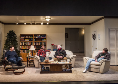 "L-R: Gary Wilmes, Frank Boyd, Richard Riehle and Brian Slaten in ""Straight White Men,"" written and directed by Young Jean Lee. ""Straight White Men"" makes its West Coast premiere from November 20 through December 20, 2015, at the Kirk Douglas Theatre in collaboration with Center for the Art of Performance at UCLA. For tickets and information, please visit CenterTheatreGroup.org or call (213) 628-2772.<br />