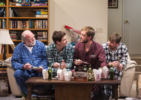 "L-R: Richard Riehle, Gary Wilmes, Frank Boyd and Brian Slaten in ""Straight White Men,"" written and directed by Young Jean Lee. ""Straight White Men"" makes its West Coast premiere from November 20 through December 20, 2015, at the Kirk Douglas Theatre in collaboration with Center for the Art of Performance at UCLA. For tickets and information, please visit CenterTheatreGroup.org or call (213) 628-2772.<br />