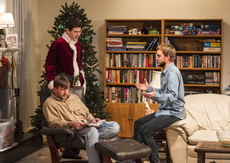 "L-R: Brian Slaten (seated), Gary Wilmes and Frank Boyd in ""Straight White Men,"" written and directed by Young Jean Lee. ""Straight White Men"" makes its West Coast premiere from November 20 through December 20, 2015, at the Kirk Douglas Theatre in collaboration with Center for the Art of Performance at UCLA. For tickets and information, please visit CenterTheatreGroup.org or call (213) 628-2772.<br />