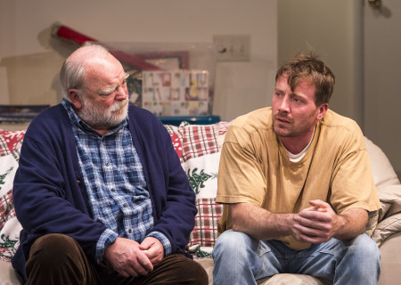 "L-R: Richard Riehle and Brian Slaten in ""Straight White Men,"" written and directed by Young Jean Lee. ""Straight White Men"" makes its West Coast premiere from November 20 through December 20, 2015, at the Kirk Douglas Theatre in collaboration with Center for the Art of Performance at UCLA. For tickets and information, please visit CenterTheatreGroup.org or call (213) 628-2772.<br />