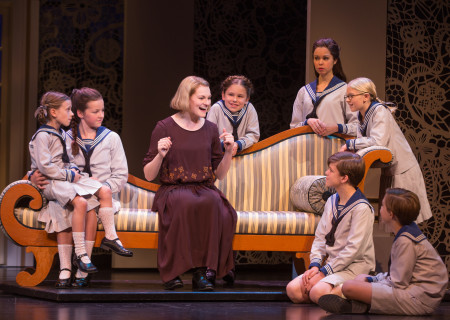 "Kerstin Anderson plays Maria Rainer in the national tour of Rodgers &amp; Hammerstein's ""The Sound of Music,"" directed by Jack O'Brien. Anderson is joined by the von Trapp children: (From left clockwise) Audrey Bennett, who plays Gretl, Maria Knasel (Louisa), Mackenzie Currie (Marta), Paige Silvester (Liesl), Svea Johnson (Brigitta), Erich Schuett (Friedrich), Quinn Erickson (Kurt). ""The Sound of Music"" is now playing at the Center Theatre Group/Ahmanson Theatre through October 31, 2015. Tickets are available at CenterTheatreGroup.org or by calling (213) 972-4400.	<br />