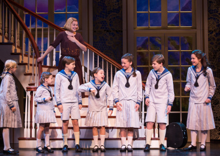 "Kerstin Anderson plays Maria Rainer in the national tour of Rodgers &amp; Hammerstein's ""The Sound of Music,"" directed by Jack O'Brien. Anderson is joined by the von Trapp children: (L-R) Svea Johnson, who plays Brigitta, Audrey Bennett (Gretl), Quinn Erickson (Kurt), Mackenzie Currie (Marta), Maria Knasel (Louisa), Erich Schuett (Friedrich) and Paige Silvester (Liesl). ""The Sound of Music"" is now playing at the Center Theatre Group/Ahmanson Theatre through October 31, 2015. Tickets are available at CenterTheatreGroup.org or by calling (213) 972-4400.	<br />