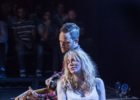 "Todd Almond and Courtney Love in ""Kansas City Choir Boy&quot; at the Center Theatre Group/Kirk Douglas Theatre. With music and lyrics by Almond and directed by Kevin Newbury, ""Kansas City Choir Boy"" is produced by Beth Morrison Projects and is presented as a special DouglasPlus event October 15 through November 8, 2015. For tickets and information, please visit CenterTheatreGroup.org or call (213) 628-2772.<br />