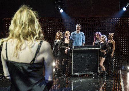 "Courtney Love looks at (L-R) Kate Douglas, Angel Lin (obscured), Molly McAdoo, Todd Almond, Barrie McLain, Angela Sclafani and Sylver Wallace in ""Kansas City Choir Boy&quot; at the Center Theatre Group/Kirk Douglas Theatre. With music and lyrics by Almond and directed by Kevin Newbury, ""Kansas City Choir Boy"" is produced by Beth Morrison Projects and is presented as a special DouglasPlus event October 15 through November 8, 2015. For tickets and information, please visit CenterTheatreGroup.org or call (213) 628-2772.<br />