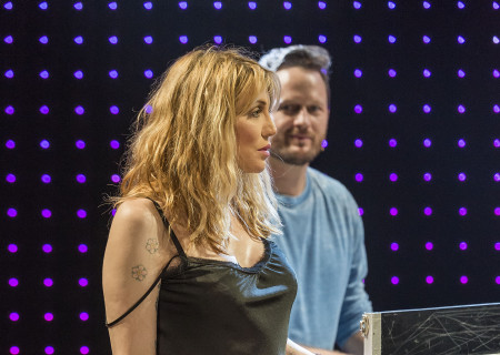 "Courtney Love and Todd Almond (background) in ""Kansas City Choir Boy&quot; at the Center Theatre Group/Kirk Douglas Theatre. With music and lyrics by Almond and directed by Kevin Newbury, ""Kansas City Choir Boy"" is produced by Beth Morrison Projects and is presented as a special DouglasPlus event October 15 through November 8, 2015. For tickets and information, please visit CenterTheatreGroup.org or call (213) 628-2772.<br />