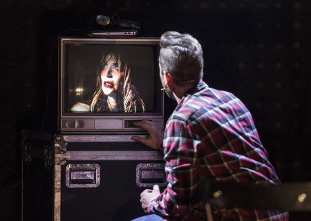 "Courtney Love (on screen) and Todd Almond in ""Kansas City Choir Boy&quot; at the Center Theatre Group/Kirk Douglas Theatre. With music and lyrics by Almond and directed by Kevin Newbury, ""Kansas City Choir Boy"" is produced by Beth Morrison Projects and is presented as a special DouglasPlus event October 15 through November 8, 2015. For tickets and information, please visit CenterTheatreGroup.org or call (213) 628-2772.<br />
