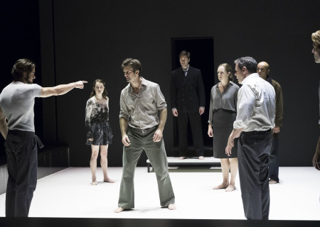 "L-R: Alex Esola, Catherine Combs, Frederick Weller, Danny Binstock, Andrus Nichols, Thomas Jay Ryan, Howard W. Overshown and Dave Register in the Young Vic production of ""A View From the Bridge."" Directed by Ivo van Hove, the production plays through October 16, 2016, at the Center Theatre Group/Ahmanson Theatre. For tickets and information, please visit CenterTheatreGroup.org or call (213) 972-4400. Contact: CTGMedia@ctgla.org/ (213) 972-7376. Photo by Jan Versweyveld."