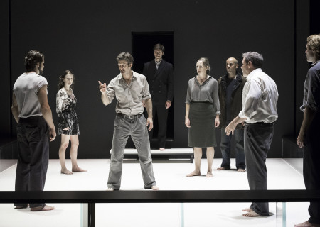 "L-R: Alex Esola, Catherine Combs, Frederick Weller, Danny Binstock, Andrus Nichols, Howard W. Overshown, Thomas Jay Ryan and Dave Register in the Young Vic production of ""A View From the Bridge."" Directed by Ivo van Hove, the production plays through October 16, 2016, at the Center Theatre Group/Ahmanson Theatre. For tickets and information, please visit CenterTheatreGroup.org or call (213) 972-4400. Contact: CTGMedia@ctgla.org/ (213) 972-7376. Photo by Jan Versweyveld."