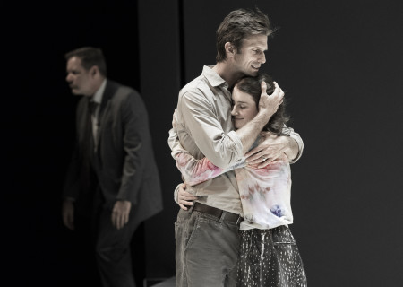 "L-R: Thomas Jay Ryan (background), Frederick Weller and Catherine Combs in the Young Vic production of ""A View From the Bridge."" Directed by Ivo van Hove, the production plays through October 16, 2016, at the Center Theatre Group/Ahmanson Theatre. For tickets and information, please visit CenterTheatreGroup.org or call (213) 972-4400. Contact: CTGMedia@ctgla.org/ (213) 972-7376. Photo by Jan Versweyveld."