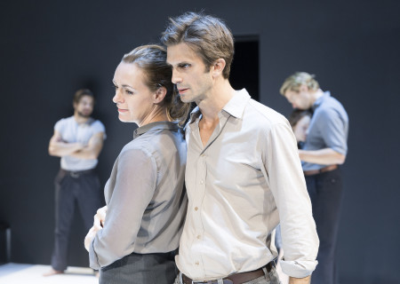 "(Foreground) Andrus Nichols and Frederick Weller, (background, L-R) Alex Esola, Catherine Combs and Dave Register in the Young Vic production of ""A View From the Bridge."" Directed by Ivo van Hove, the production plays through October 16, 2016, at the Center Theatre Group/Ahmanson Theatre. For tickets and information, please visit CenterTheatreGroup.org or call (213) 972-4400. Contact: CTGMedia@ctgla.org/ (213) 972-7376. Photo by Jan Versweyveld."