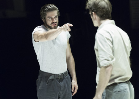 "L-R: Alex Esola and Frederick Weller in the Young Vic production of ""A View From the Bridge."" Directed by Ivo van Hove, the production plays through October 16, 2016, at the Center Theatre Group/Ahmanson Theatre. For tickets and information, please visit CenterTheatreGroup.org or call (213) 972-4400. Contact: CTGMedia@ctgla.org/ (213) 972-7376. Photo by Jan Versweyveld."