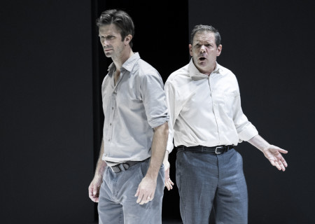 "L-R: Frederick Weller and Thomas Jay Ryan in the Young Vic production of ""A View From the Bridge."" Directed by Ivo van Hove, the production plays through October 16, 2016, at the Center Theatre Group/Ahmanson Theatre. For tickets and information, please visit CenterTheatreGroup.org or call (213) 972-4400. Contact: CTGMedia@ctgla.org/ (213) 972-7376. Photo by Jan Versweyveld."