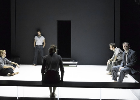 "L-R: Catherine Combs (obscured), Dave Register, Alex Esola, Andrus Nichols (obscured), Frederick Weller and Thomas Jay Ryan in the Young Vic production of ""A View From the Bridge."" Directed by Ivo van Hove, the production plays through October 16, 2016, at the Center Theatre Group/Ahmanson Theatre. For tickets and information, please visit CenterTheatreGroup.org or call (213) 972-4400. Contact: CTGMedia@ctgla.org/ (213) 972-7376. Photo by Jan Versweyveld."