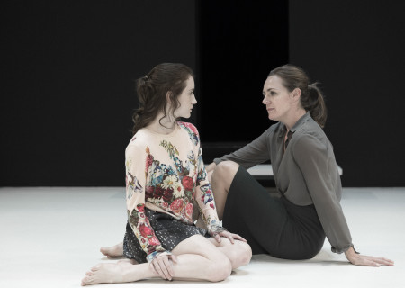 "L-R: Catherine Combs and Andrus Nichols in the Young Vic production of ""A View From the Bridge."" Directed by Ivo van Hove, the production plays through October 16, 2016, at the Center Theatre Group/Ahmanson Theatre. For tickets and information, please visit CenterTheatreGroup.org or call (213) 972-4400. Contact: CTGMedia@ctgla.org/ (213) 972-7376. Photo by Jan Versweyveld."