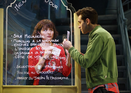 "Phillipa Soo and Adam Chanler-Berat in ""Amélie, A New Musical"" at Center Theatre Group/Ahmanson Theatre. ""Amélie, A New Musical"" plays through January 15, 2017. For tickets and information, please visit CenterTheatreGroup.org or call (213) 972-4400. Contact: CTG Publicity/ (213) 972-7376/CTGMedia@ctgla.org. Photo by Joan Marcus."