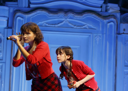"L-R: Phillipa Soo and Savvy Crawford in ""Amélie, A New Musical"" at Center Theatre Group/Ahmanson Theatre. ""Amélie, A New Musical"" plays through January 15, 2017. For tickets and information, please visit CenterTheatreGroup.org or call (213) 972-4400. Contact: CTG Publicity/ (213) 972-7376/CTGMedia@ctgla.org. Photo by Joan Marcus."