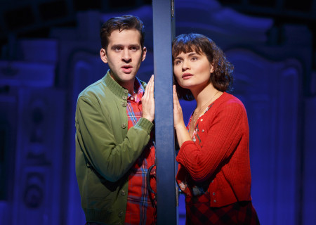 "Adam Chanler-Berat and Phillipa Soo in ""Amélie, A New Musical"" at Center Theatre Group/Ahmanson Theatre. ""Amélie, A New Musical"" plays through January 15, 2017. For tickets and information, please visit CenterTheatreGroup.org or call (213) 972-4400. Contact: CTG Publicity/ (213) 972-7376/CTGMedia@ctgla.org. Photo by Joan Marcus."