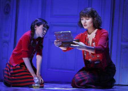 "L-R: Savvy Crawford and Phillipa Soo in ""Amélie, A New Musical"" at Center Theatre Group/Ahmanson Theatre. ""Amélie, A New Musical"" plays through January 15, 2017. For tickets and information, please visit CenterTheatreGroup.org or call (213) 972-4400. Contact: CTG Publicity/ (213) 972-7376/CTGMedia@ctgla.org. Photo by Joan Marcus."