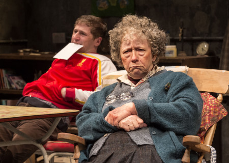 "Aaron Monaghan and Marie Mullen in the Druid production of ""The Beauty Queen of Leenane"" by Martin McDonagh. Directed by Garry Hynes, the production runs through December 18, 2016, at Center Theatre Group/Mark Taper Forum. For tickets and information, please visit CenterTheatreGroup.org or call (213) 628-2772. Contact: CTG Publicity (213) 972-7376 / CTGMedia@ctgla.org. Photo by Craig Schwartz."