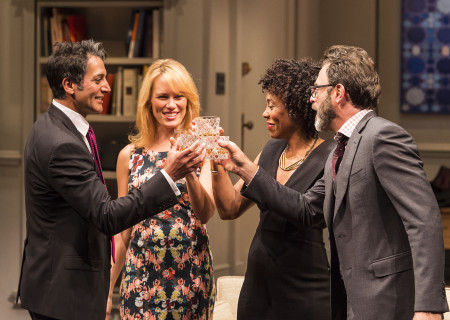 "L-R: Hari Dhillon, Emily Swallow, Karen Pittman and J Anthony Crane in Ayad Akhtar's Pulitzer-winning play ""Disgraced,"" which plays at Center Theatre Group/Mark Taper Forum at the Los Angeles Music Center June 8 through July 17, 2016. For tickets and information, please visit CenterTheatreGroup.org or call (213) 628-2772. Contact:  CTG Media and Communications/ (213) 972-7376/CTGMedia@ctgla.org.<br />