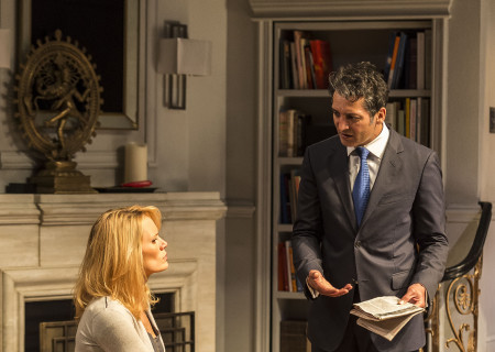 """Emily Swallow and Hari Dhillon in Ayad Akhtar's Pulitzer-winning play """"Disgraced,"""" which plays at Center Theatre Group/Mark Taper Forum at the Los Angeles Music Center June 8 through July 17, 2016. For tickets and information, please visit CenterTheatreGroup.org or call (213) 628-2772. Contact:  CTG Media and Communications/ (213) 972-7376/CTGMedia@ctgla.org.<br /> Photo by Craig Schwartz.."""