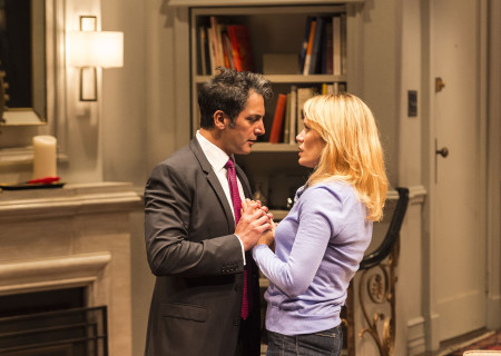 "Hari Dhillon and Emily Swallow in in Ayad Akhtar's Pulitzer-winning play ""Disgraced,"" which plays at Center Theatre Group/Mark Taper Forum at the Los Angeles Music Center June 8 through July 17, 2016. For tickets and information, please visit CenterTheatreGroup.org or call (213) 628-2772. Contact:  CTG Media and Communications/ (213) 972-7376/CTGMedia@ctgla.org.<br />