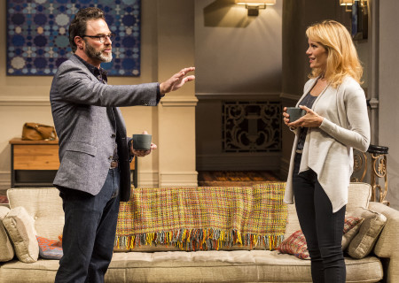 """J Anthony Crane and Emily Swallow in Ayad Akhtar's Pulitzer-winning play """"Disgraced,"""" which plays at Center Theatre Group/Mark Taper Forum at the Los Angeles Music Center June 8 through July 17, 2016. For tickets and information, please visit CenterTheatreGroup.org or call (213) 628-2772. Contact:  CTG Media and Communications/ (213) 972-7376/CTGMedia@ctgla.org.<br /> Photo by Craig Schwartz.."""