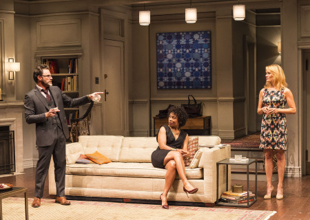 """L-R: J Anthony Crane, Karen Pittman and Emily Swallow in Ayad Akhtar's Pulitzer-winning play """"Disgraced,"""" which plays at Center Theatre Group/Mark Taper Forum at the Los Angeles Music Center June 8 through July 17, 2016. For tickets and information, please visit CenterTheatreGroup.org or call (213) 628-2772. Contact:  CTG Media and Communications/ (213) 972-7376/CTGMedia@ctgla.org.<br /> Photo by Craig Schwartz.."""