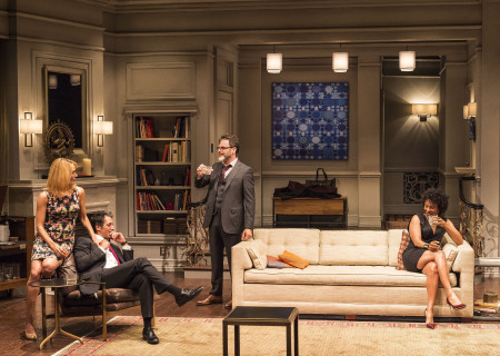 "L-R: Emily Swallow, Hari Dhillon, J Anthony Crane and Karen Pittman in Ayad Akhtar's Pulitzer-winning play ""Disgraced,"" which plays at Center Theatre Group/Mark Taper Forum at the Los Angeles Music Center June 8 through July 17, 2016. For tickets and information, please visit CenterTheatreGroup.org or call (213) 628-2772. Contact:  CTG Media and Communications/ (213) 972-7376/CTGMedia@ctgla.org.<br />