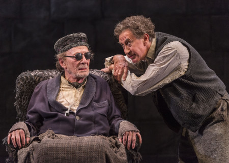 "L-R: Alan Mandell and Barry McGovern in ""Endgame."" Written by Samuel Beckett and directed by Mandell, ""Endgame"" plays through May 22, 2016, at Center Theatre Group's Kirk Douglas Theatre. For tickets and information, please visit CenterTheatreGroup.org or call (213) 628-2772. <br />