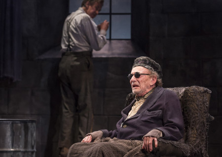 "L-R: Barry McGovern (background) and Alan Mandell in ""Endgame."" Written by Samuel Beckett and directed by Mandell, ""Endgame"" plays through May 22, 2016, at Center Theatre Group's Kirk Douglas Theatre. For tickets and information, please visit CenterTheatreGroup.org or call (213) 628-2772. <br />